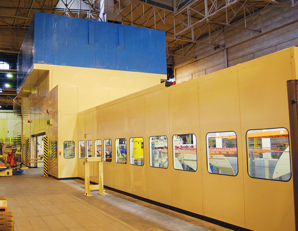 Soundproof cabins on production lines for large plants